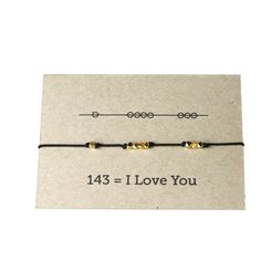 """This isn't just a super cute layering bracelet, it also communicates """"I love you"""" in code. Bracelets make a great gift for sisters, best friends, mothers to daughters, you name it. Such a fun secret w"""
