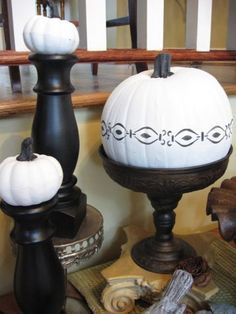 White Painted Pumpkins for Fall