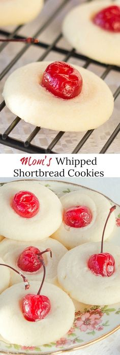 My recipe for Moms Whipped Shortbread cookies is the melt in your mouth type. Decorate with maraschino cherries, Jelly candies, Jelly Beans or any of your favourite decorative toppings. #shortbreadcookies #whippedshortbread #cookies #Christmasbaking #Holidaybaking