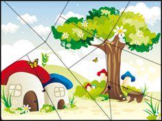Puzzel paddestoel / Puzzle à imprimer - les maisons champignons Games For Toddlers, Activities For Kids, Puzzles, Grande Section, Babysitting, Bingo, Montessori, Board Games, Preschool