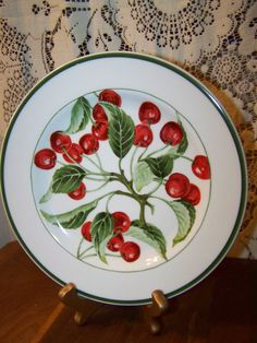 American Atelier China Harvest Fruit 5013 Cherry Salad Dessert Plate on Etsy, $8.50
