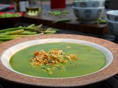 Asparagus Soup Recipe : Guy Fieri : Food Network. I love this soup. I made it to use in my three cleanse (minus all the toppings). A little time consuming to make and blend up but makes multiple meals and worth the effort. It's so good and filling.