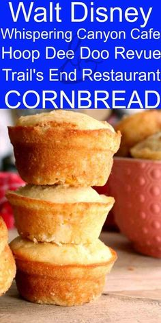 This recipe comes from Walt Disney World's Wilderness Lodge and Fort Wilderness Resort & Campground. It's served in both the Whispering Canyon Cafe and Trails End Restaurant. It is moist, tender and delicious. Best Cornbread Recipe, Moist Cornbread, Sweet Cornbread Recipe Paula Deen, Sweet Cornbread Muffins, Fried Cornbread, Jiffy Cornbread Recipes, Honey Cornbread, Homemade Cornbread, Muffin Recipes