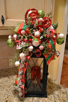 Kristen's Creations/ dress up the lanterns for christmas Christmas Items, Christmas Love, Christmas Projects, All Things Christmas, Holiday Crafts, Christmas Holidays, Holiday Fun, Christmas Wreaths, Christmas Ornaments
