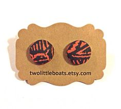 Aztec Fabric Button Earrings by TwoLittleBoats on Etsy