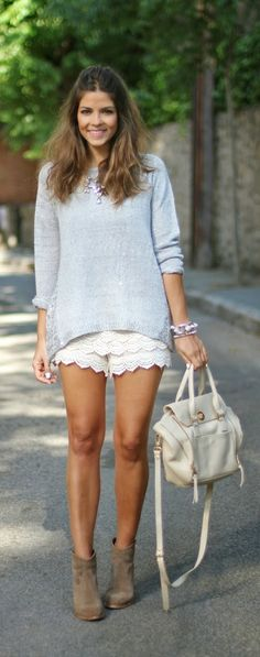 Ideas for crochet lace shorts outfit summer fashions Lace Short Outfits, Trendy Outfits, Summer Outfits, Summer Fashions, Spring Summer Fashion, Autumn Fashion, Spring Style, Trendy Taste, White Lace Shorts