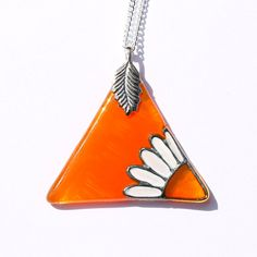 OrangeTriangle Pendant with Daisy design, Hand Painted Glass Necklace, Orange Glass Daisy Necklace