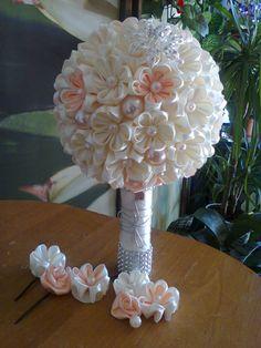 Ślubna wiązanka w stylu kanzashi
