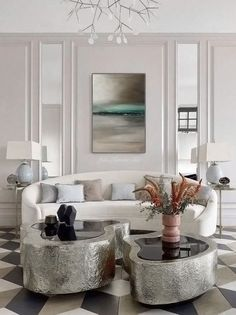 Beautiful Art Deco style white living room decor with curved sofa, glamorous luxury living room decor, luxury sofa deco Living Room luxury Small Living Room Design, Elegant Living Room, Formal Living Rooms, Living Room Sets, Living Room Furniture, Living Room Designs, Living Room Decor, Modern Living, Furniture Sale