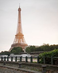 "Paris Photography, ""Eiffel Tower Sunrise"" Paris Prints, Paris Light, Gold, Green Eiffel Tower Decor"