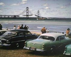 Mackinac Bridge between Mackinaw City & St. Ignace, MI under construction in the That would've been a cool sight to see! Michigan Travel, State Of Michigan, Detroit Michigan, Northern Michigan, Lake Michigan, Mackinaw City, Mackinac Bridge, Port Huron, Upper Peninsula