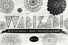 20 wabisabi hand drawn lace elements by Zoë Ingram on @creativemarket