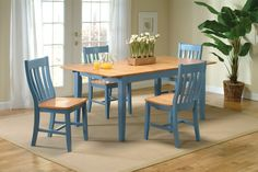 Periwinkle Blue and Maple Dining Set
