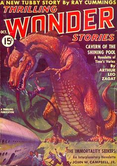"""Thrilling Wonder Stories (Oct. 1937) including """"The Hothouse Planet"""" (Gerry Carlyle) by Arthur K. Barnes and """"When the Earth Lived"""" by Henry Kuttner. Cover shows an illustration (a good one) from """"The Hothouse Planet."""""""