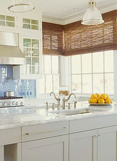 Ideas & Insights - Almost all window treatments can be motorized! Here cellular shades are quickly becoming a favorite in the window treatments market. - Check Out THE PIC for Many Ideas for Living Room Window Treatments. Corner Window Treatments, Rustic Window Treatments, Window Coverings, Kitchen Corner, New Kitchen, Kitchen Tips, Kitchen Stuff, Kitchen Ideas, Kitchen Decor