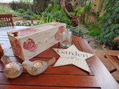 Caja de vino decorada con decoupge y stencils