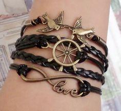 Love to infinity bracelet wheel rudder bracelet by SummerWishes