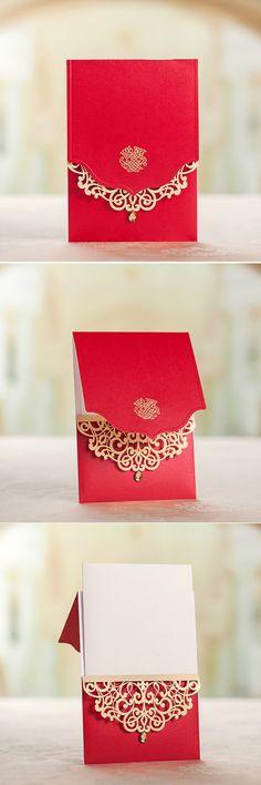 New Wedding Invites Unique Envelopes Ideas Luxury Wedding Invitations, Elegant Wedding Invitations, Wedding Invitation Cards, Wedding Stationery, Wedding Cards, Invites, Laser Cut Invitation, Invitation Card Design, Karten Diy