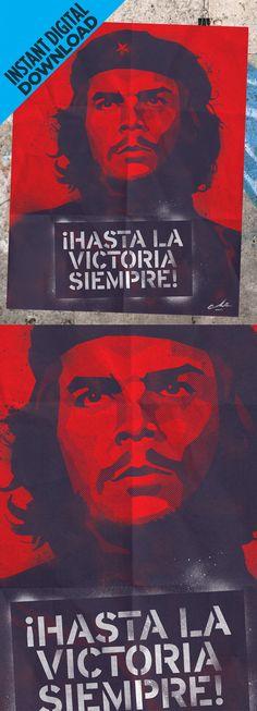 Poster for Instant Digital Download #CheGuevara ¡Hasta La Victoria Siempre!, Cuban Revolution Poster With Iconic Photograph Of Che Guevara, By Alberto Korda