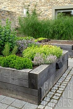 like the paving CONTEMPORARY WALLED KITCHEN GARDEN - how about a small area in the front for herbs.
