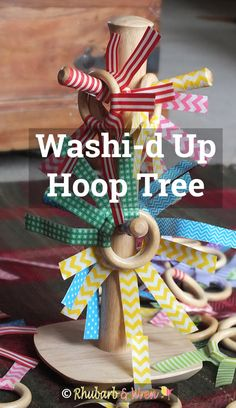 Hoop Tree - All Washi-d Up! - Rhubarb and Wren - - DIY toy for babies and toddlers – wooden mug tree with hoops wrapped in washi tape. Baby Room Activities, Infant Activities, Motor Activities, Baby Sensory Play, Baby Play, Heuristic Play, Treasure Basket, Montessori Toys, Montessori Bedroom