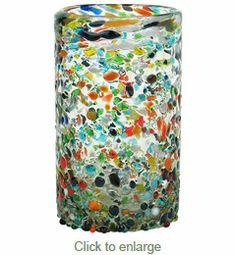 Handblown Mexican Juice Glass Pebbled Confetti - Set of 4