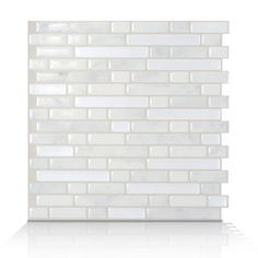 Smart Tiles White/Silver Composite Vinyl Mosaic Subway Peel-And-Stick Wall Tile (Common: 10-in x 10-in; Actual: 10-in x 10.13-in)