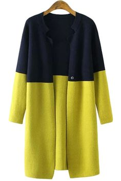 Stand-Up Collar Color Block Long Sleeve Cardigan