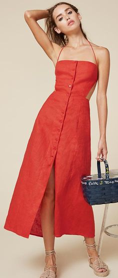 Reformation burnt orange buttom up open back linen midi shirt