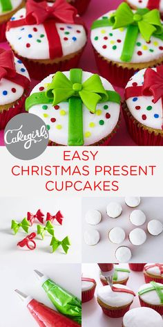Christmas present cupcakes made easy with our novelty bows! Ice and decorate with your own Christmas design idea and then top with our adorable novelty bow rings for an instant adorable finish! Christmas Deserts, Christmas Recipes, Holiday Desserts, Holiday Recipes, Turkey Cupcakes, Quick Cake, Chocolate Crinkles, Christmas Cooking, Savoury Cake
