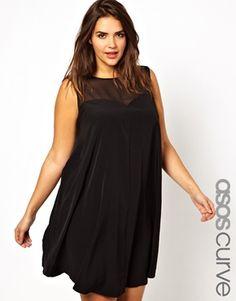 Image 1 ofASOS CURVE Exclusive Swing Dress With Mesh Sweetheart