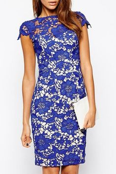 Blue Lace Short Sleeve Slimming Dress