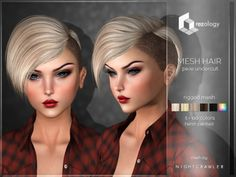 (Compatible w/ all mesh heads) rezology Pixie Undercut (Bento RIGGED mesh hair) NC - 1052 complexity Undercut Pixie, Undercut Hairstyles, Pixie Hairstyles, My Sims, Sims Cc, The Sims 4 Cabelos, Pelo Sims, Sims Packs, Sims Four