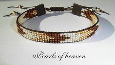 gewebtes Armband bead loom in braun gold beige mit Miyuki Delicas