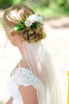 Wedding updo with flowers. Wedding updo with veil underneath. Brooke Himes Hair Design out of Anna, Tx. Romantic Wedding Hair, Wedding Hair Flowers, Wedding Hair And Makeup, Wedding Veils, Flowers In Hair, Trendy Wedding, Hair Wedding, Wedding Parties, Veil With Flowers
