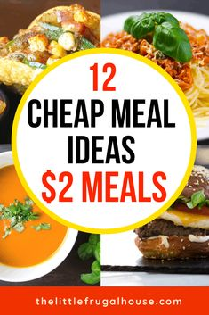 These cheap meal ideas are perfect for one, for two, or for Cheap Easy Meals, Frugal Meals, Budget Dinners, Frugal Recipes, Inexpensive Meals, Crockpot Cheap Meals, Cheap Meals For Two, Cheap Meals To Cook, Groceries Budget