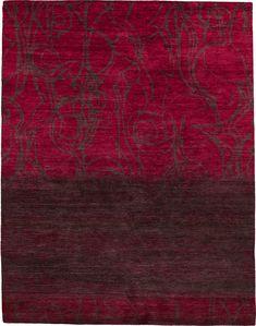 maroon grafias knotted tibetan modern rug