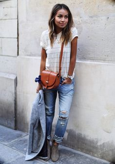 Boyfriend Jeans + Striped Shirt + Booties