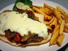 Tonight's Dinner Special in Alices  Blue Lake Cheese Steak $18 Eight ounce rib eye onions roasted peppers and provolone cheese sauce on an toasted amoroso roll.  Served with fries or onion rings and soup or salad.