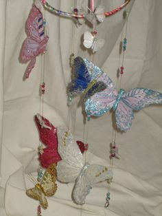Butterfly Mobile with feather butterflies