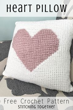 You'll love this soft and fluffy crochet heart pillow perfect to Valentines day or every day decor. The free pattern includes instructions on how to crochet a heart pillow. Crochet Cushion Pattern Free, Crochet Cushion Cover, Crochet Cushions, Crochet Blanket Patterns, Knitting Patterns, Free Pattern, Crochet Square Blanket, Chunky Crochet, Crochet Baby