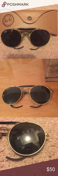 Vintage circular Ray-Bans Super rad 1970s authentic Ray-Bans. 2 scratches on right frame and a chip at the top. Both imperfections are small and are pictured. Comes with original case Ray-Ban Accessories Sunglasses