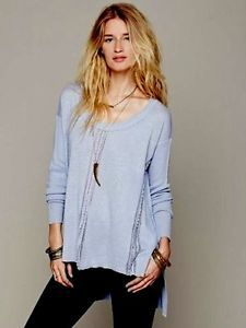 Free-People-Knit-Top-S-NWT-108-00-Blue-Lace-Road-Boxy-Pullover *012