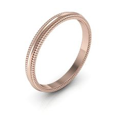14K Rose gold 2mm milgrain  men's & women's wedding bands.