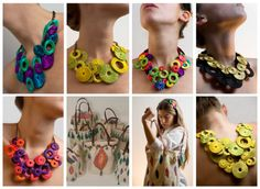 Love these necklaces! I wonder if you could use cardboard circles with thread wrapped to get the colors