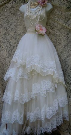 Crinoline wedding dress tiered vintage lace by vintageopulence
