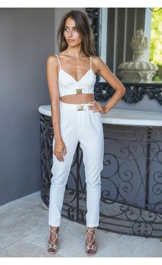 Buckle Bralette Crop White - Tops - Clothing