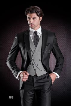 Black formal suit in pure light wool with houndstooth asymmetric double-breasted vest #bespoke #madeinitaly #weddingsuit #groomsuit #weddingtuxedo #groom #weddings #brideandgroom
