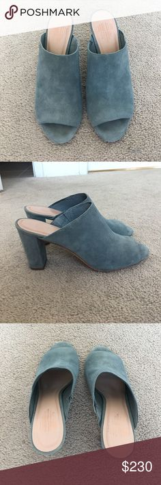 """Anthropologie Morely Mules Charlotte Stone morely mules in a gray/light blue color from Anthropologie. Fits closer to a 9.5. Worn once. No damage at all, only very light use seen on the bottoms in photos. 3"""" heels. Price is firm. Anthropologie Shoes Mules & Clogs"""