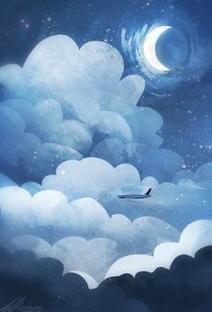 Plane in the sky cloudy night illustration Aesthetic Pastel Wallpaper, Aesthetic Wallpapers, Art And Illustration, Fantasy Kunst, Fantasy Art, Cute Wallpapers, Wallpaper Backgrounds, Moon Art, Aesthetic Art